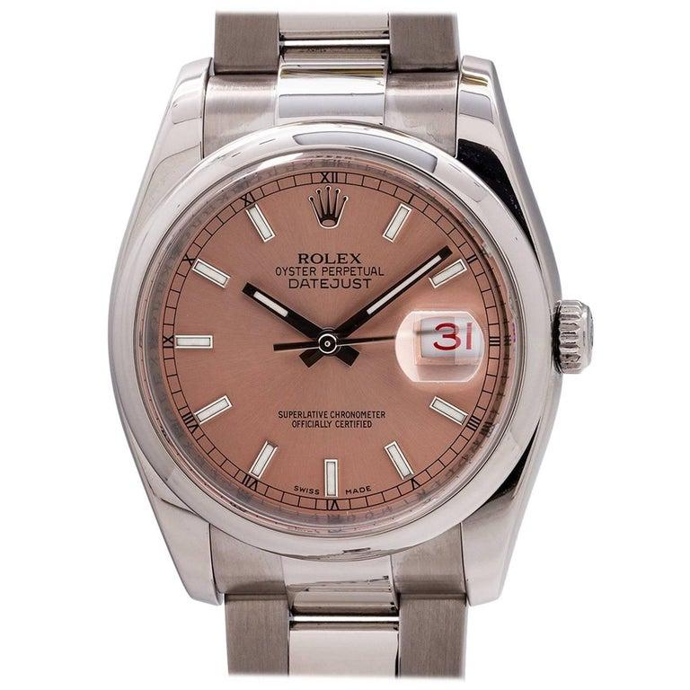 Rolex Stainless Steel Datejust Self Winding Wristwatch Ref 116200, circa 2007