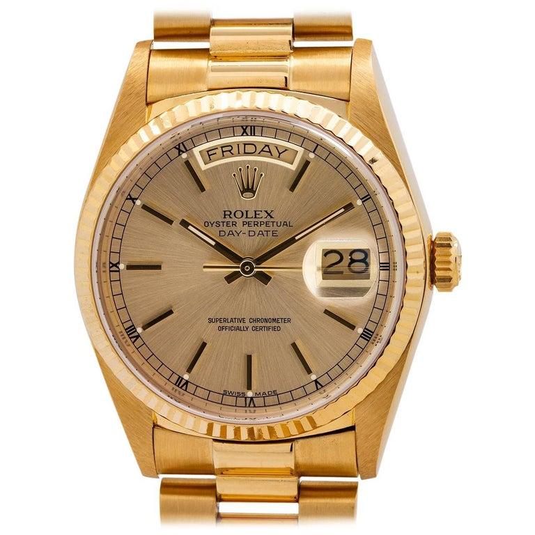 Rolex Yellow Gold Day Date President Self-Winding Wristwatch Ref 18038