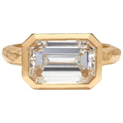 GIA Certified 3.32 Carat Emerald Cut Diamond Engagement Ring G color