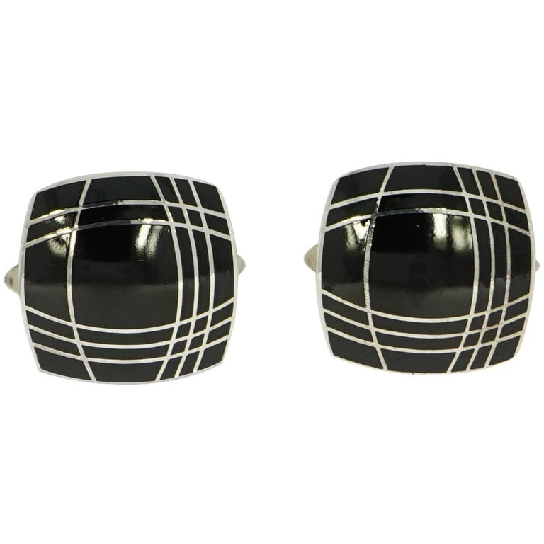 Squared Black Enameled Sterling Silver Cufflinks