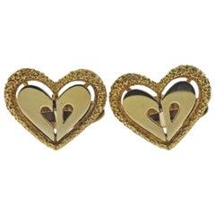 Christian Dior Gold Heart Cufflinks