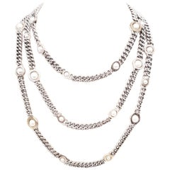 Franco Pianegonda Sterling Silver and 18 Karat Pearl Three-Strand Necklace