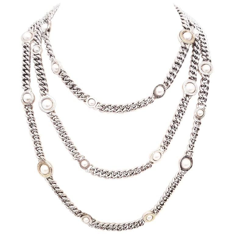Franco Pianegonda Sterling Silver and 18 Karat Pearl Three-Strand Necklace For Sale