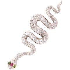 Diamond Snake Brooch