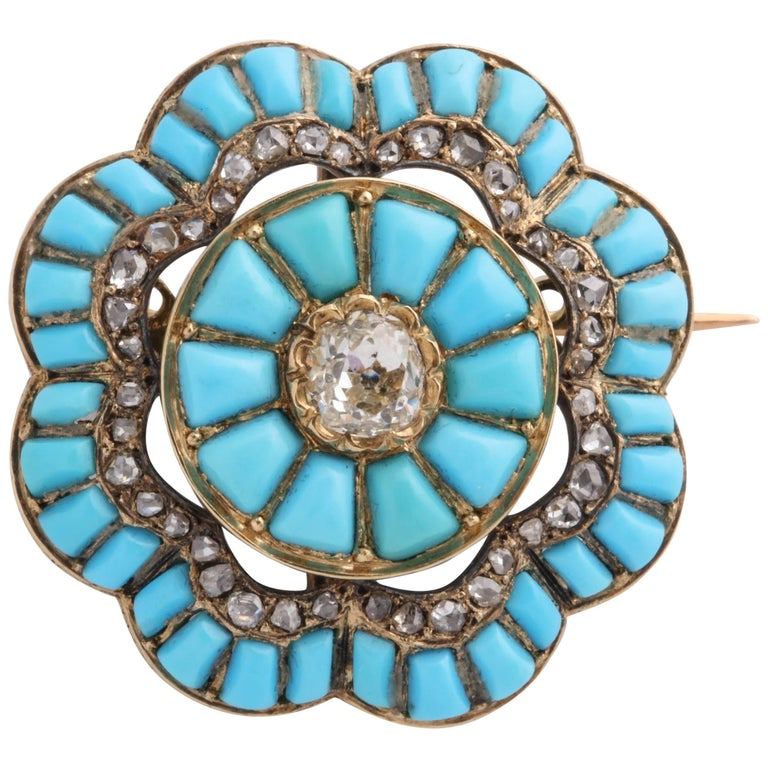 Victorian Turquoise and Diamond Brooch