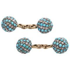 Turquoise and Diamond Victorian Cufflinks