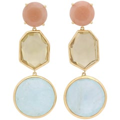 1990s Ippolita Pastel Rose Quartz, Citrine and Aquamarine Flexible Gold Earrings