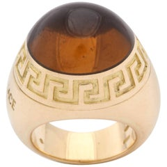 Versace 1990s Sugarloaf Cut Honey Citrine Greek Key Motif Gold Dome Ring