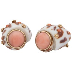 1990s Trianon Angel Skin Coral with Animal Print Shell Design Gold Earclips