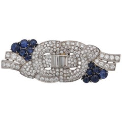 1940s Cabochon Sapphires with Diamonds Convertible Platinum Brooch Dress Clips