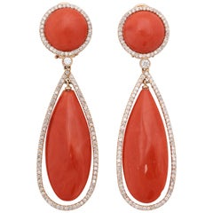 1980s Teardrop and Button Shaped Coral with Diamonds Pendant Drop Gold Earclips