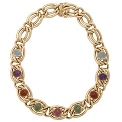 1980s Abel and Zimmerman Cabochon Multicolored Stone Double Link Gold Necklace