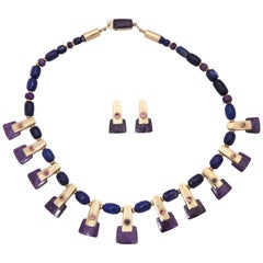1990s Sugilite, Lapis with Rubelites Gold Cleopatra Style Necklace with Earrings