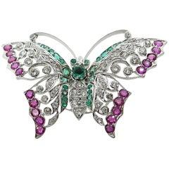 14 Karat White Gold Multi Stone Butterfly Ring