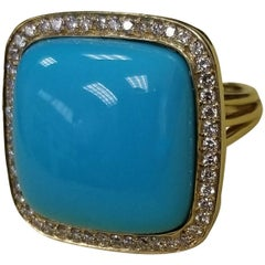 "18 Karat Yellow Gold ""Arizona"" Turquoise with Pave Set Diamonds Surrounding"