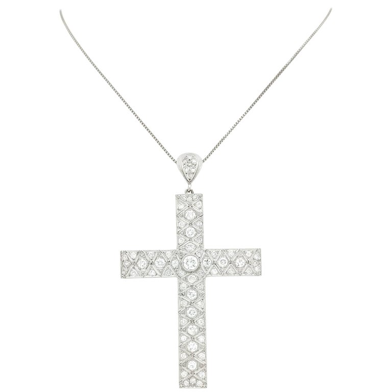 Art Deco Filigree Platinum Diamond Cross Pendant Necklace