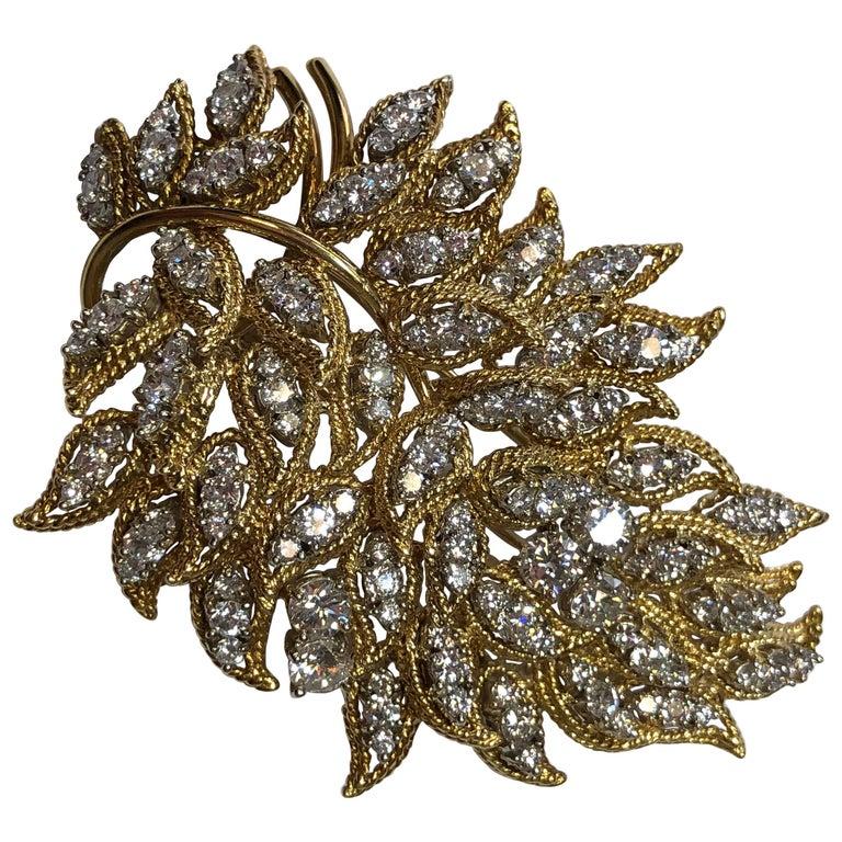 White Diamond Brooch in 18 Karat Yellow Gold