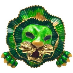 Green Orange and Red Enamel Yellow Gold Lion Cocktail Ring