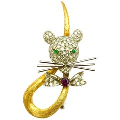 Spritzer & Fuhrman Pave Diamond, Ruby and Emerald Gold Circus Mouse Brooch