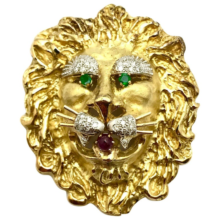 Hammerman Brothers Large Diamond Emerald and Ruby Gold Lion Brooch or Pendant