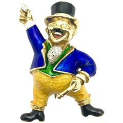 Greatest Showman Ringmaster Brooch of Diamond Enamel and Yellow Gold