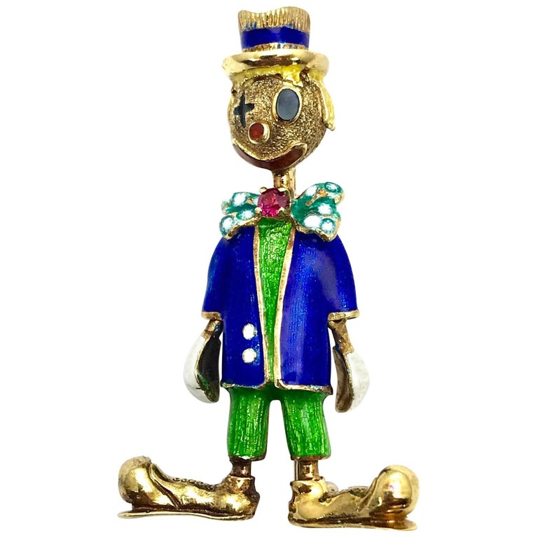 1970 Enamel and Ruby Yellow Gold Circus Clown Brooch