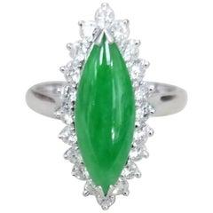 14 Karat White Gold Jade and Diamond Cocktail Ring