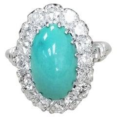 "14 Karat White Gold Ladies Oval Cabachon ""Persian"" Turquoise and Diamond Ring"