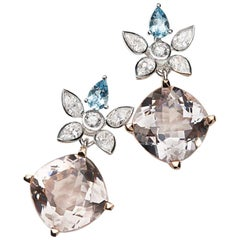 Morganite, Aquamarine and White Diamond 18 Karat Gold Earrings