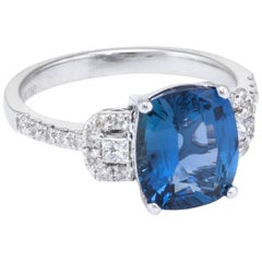 GIA No Heat Natural Sapphire Diamond Ring Estate 18 Karat White Gold