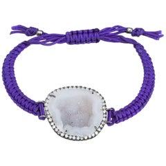 Kimberly McDonald Geode Diamond Bracelet Purple Macrame 18 Karat Gold