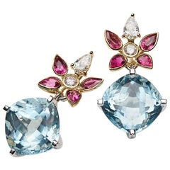 Aquamarine, Rubelite and White Diamond 18 Karat Gold Earrings
