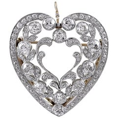 Antique Platinum Gold and Diamond Heart Pendant or Pin