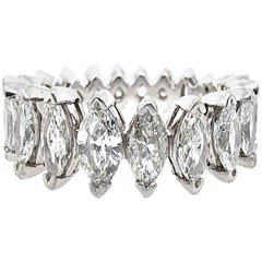 4.00 Carat Art Deco Inspired 21 Graduated Marquise Diamond Eternity Band