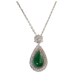 8.06 Carat Pear Shape Emerald Cabochon and Diamond Pendant