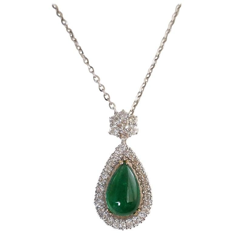 8.06 Carat Pear Shape Emerald Cabochon and Diamond Pendant