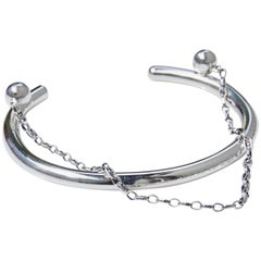 Love Bracelet Cuff in Silver with Chains