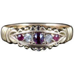 Antique Victorian Ruby Diamond Ring 15 Carat Gold, circa 1901