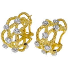 Gianmaria Buccellati Diamonds 18 Karat Yellow Gold Ondine Hoop Stud Earrings