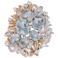 Aquamarine Diamonds White and Rose Gold Ring