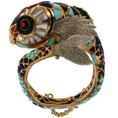 Gold Fish Cuff Bracelet