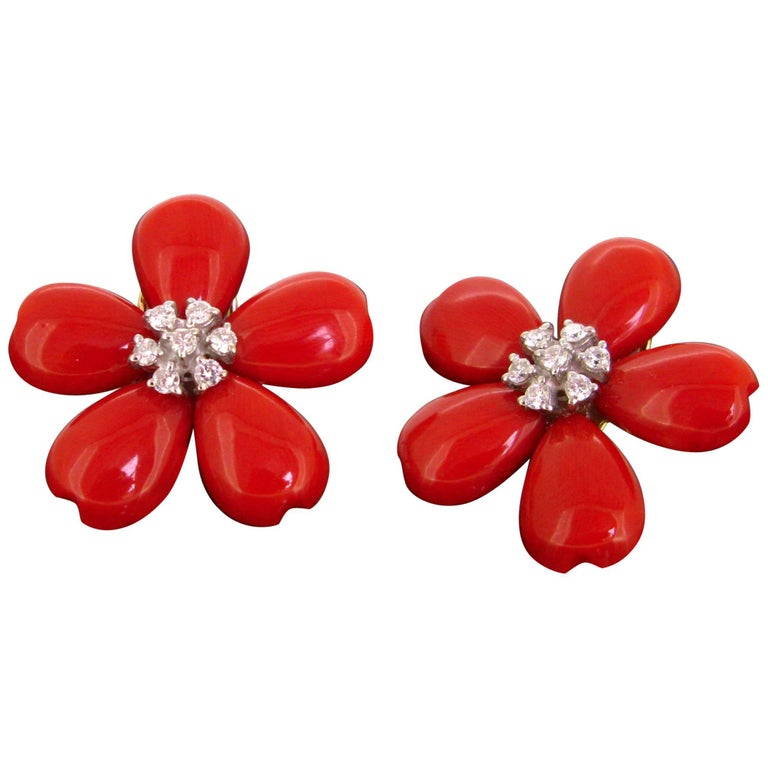 Modern Flower Petals Corals and Brilliant cut Diamonds Earrings Clips