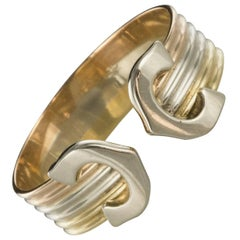 Modern Three Golds Double C Cartier Style Band Ring
