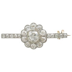 1920s Antique 1.62 Carat Diamond and Yellow Gold, Platinum Set Bar Brooch