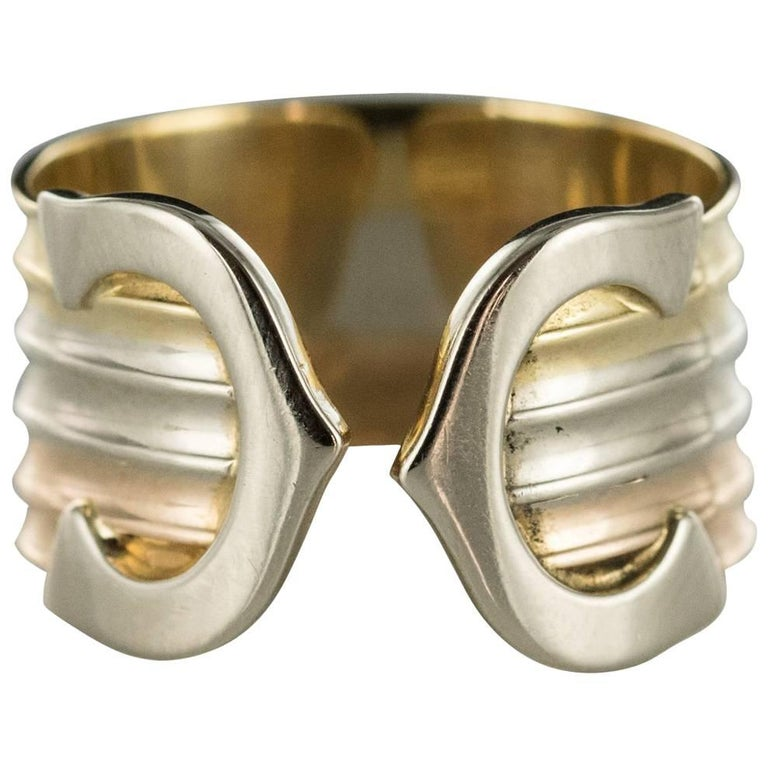 Modern Double C Cartier Style 3 Gold Ring