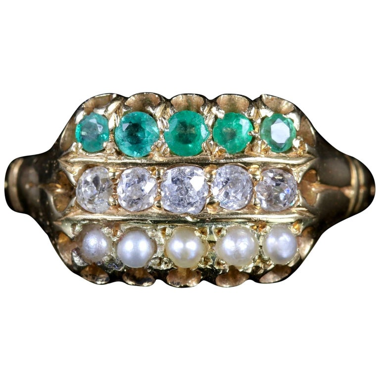 Antique Victorian Emerald Diamond Pearl Ring 18 Carat Gold Dated 1882