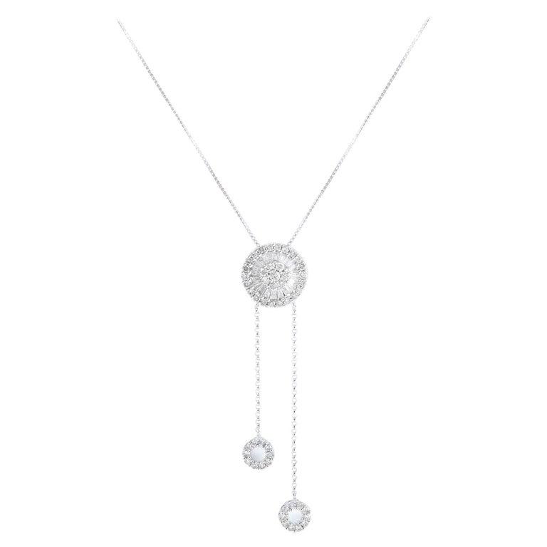 Diamond Set Disc Pendant with Two Diamond Set Circle Drops on White Gold Chains