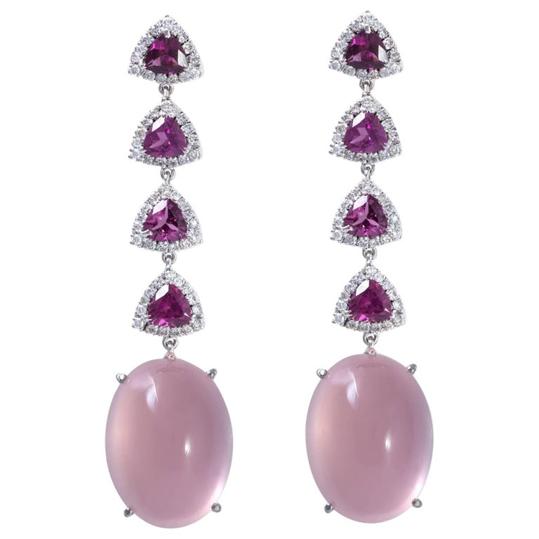 Rose Quartz, Purple Garnet and Diamond Drop Earrings 18 Karat White Gold