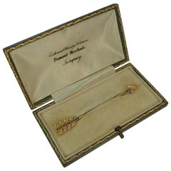 15 Carat Gold Sapphire and Pearl Arrow Jabot Pin in Box