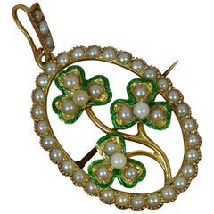 Victorian 15 Carat Gold Enamel and Pearl Three-Leaf Clover Pendant Brooch